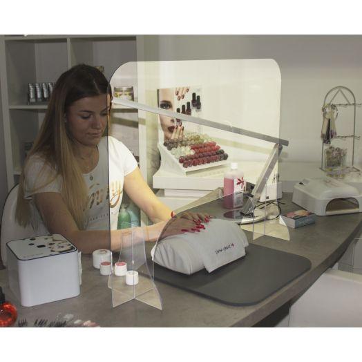 Hygieneschutzwand Polycarbonat  80x60 Ausschnitt Standard 190mm